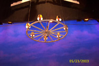Wagon wheel chandelier for ballet